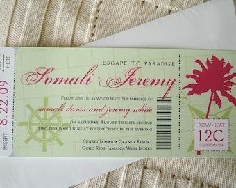 Nautical Wedding boarding pass Invitation, Tropical boarding pass invitations, Green pink Cruise wedding invitation, wedding ticket invites