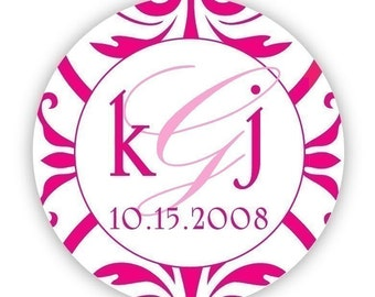 Circle custom Wedding Monogram, hot pink Personalized Save the Date Sticker labels, wedding Invitation labels, wedding invite stickers seals