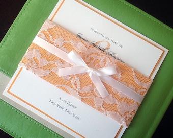 Rustic Lace wedding Invitations, unique wedding invitations, Romantic wedding invitation, elegant invitation, yellow invite, communion