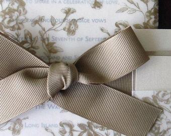 Rustic floral Wedding Invitation, translucent Romantic wedding invitations, Vellum, ribbon, cream and gold wedding invitation
