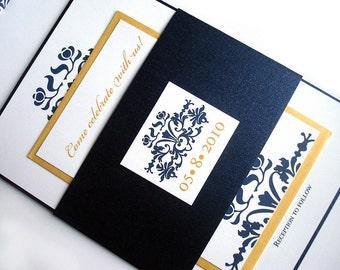 "navy and gold wedding invitation, Navy blue Wedding Invitation set,  modern wedding invitation suite, wedding invite ""navy blue wedding"""