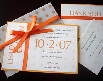 Vellum Orange Wedding Invitation, Unique wedding invitations, fun wedding invitation, Bat mitzvah ribbon invitation, sweet 16, quinceanera