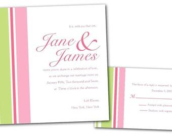 Pink and Lime Green Modern Stripes Wedding Invitation, Bridal baby shower, sweet 16 invitation, bat mitzvah, simple communion christening