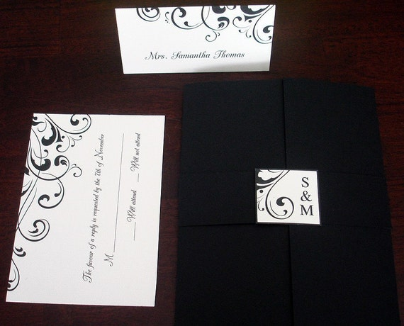 Flourish Wedding Invitations: Wedding Invitation Black Ivory Flourish Gatefold By