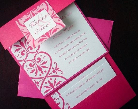 Fuchsia Pocketfold Wedding Invitation Suite Romantic Pocket