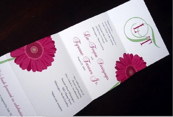 Seal And Send Monogram Gerbera Daisy Wedding Invitation