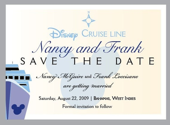Disney Wedding Save The Date Magnet Card - Mickey Disney Cruise ship - Modern, Unique, Fun, Playful Disney cruise save the dates - Deposit