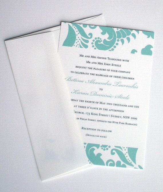 Classic wedding invitation, aqua Wedding Invitations, traditional invite, Elegant Wedding invitation, simple invitation, casual invitations