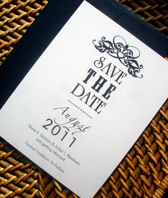 Ultra Modern Typography, Calligraphy Wedding Save the Date Card, Cream, Black, Unique, Urban, simplistic save the dates, save-the-date cards