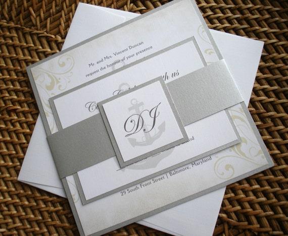 Sailboat Wedding Invitations: Nautical Wedding Invitation Set Anchor Wedding Invitations
