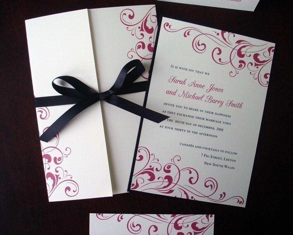 Black Tie Formal Wedding Invitation Cream Fuchsia Flourish