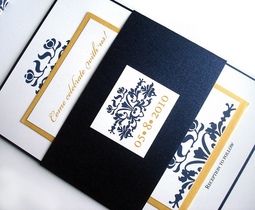 navy blue gold wedding invitation belly band metallic, Wedding invitations