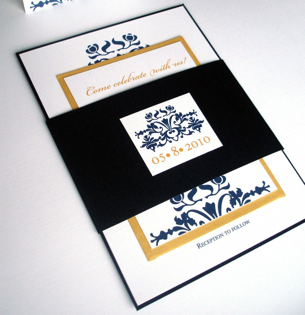 Navy Blue And Gold Wedding Invitations: Navy Blue Wedding Invitation Set Elegant Wedding By