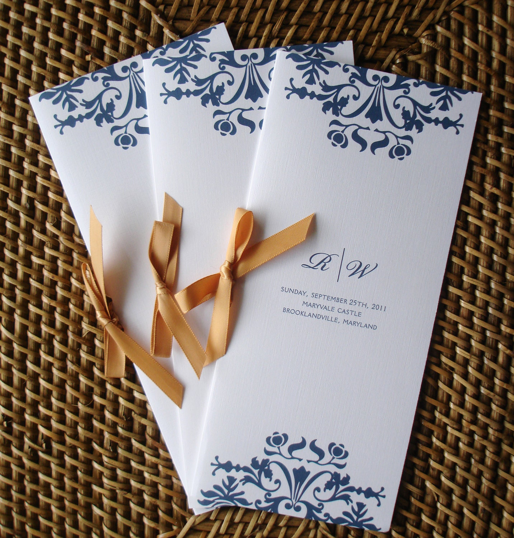 Programs: Navy Blue Wedding Programs Gold Wedding Programs Satin