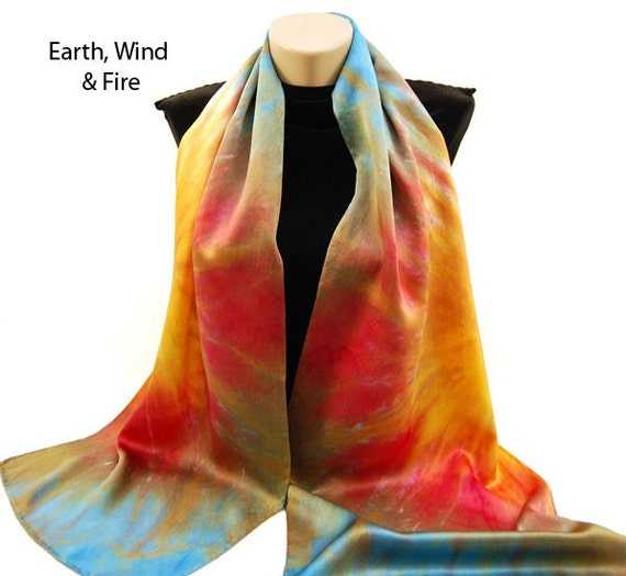 The Colors of FALL...Hand Dyed Silk Charmeuse Scarf, choose your palette