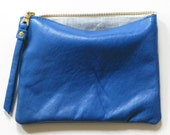 eight inch wallet clutch pouch - cobalt lambskin