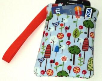 Gadget Cozy Wristlet - Whimsical Trees Bugs & Birds