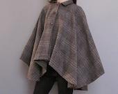 vintage grey PLAID wool cape coat