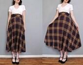 vintage plaid midi skirt XS S