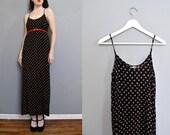 vintage BLACK floral maxi dress XS S