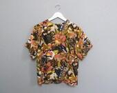 vintage SILK floral blouse M