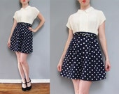 vintage navy blue HIGH WAISTED polka dot shorts S M