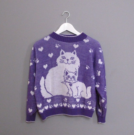 vintage CAT hearts sweater S M