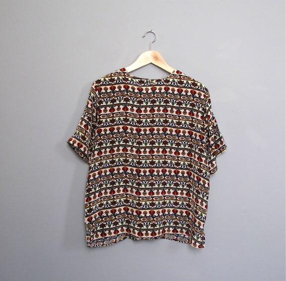 RESERVED for Myrrhaa vintage SILK short sleeve blouse