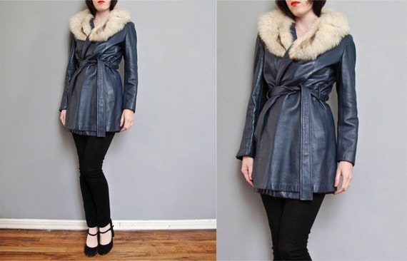 1970s SLATE BLUE leather jacket FUR collar S