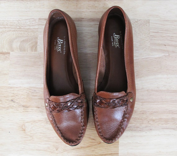 vintage BASS braided brown leather flats 8