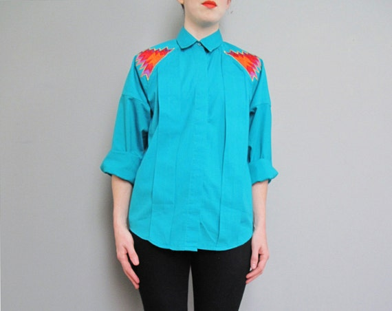 1980s TEAL western wrangler shirt S M