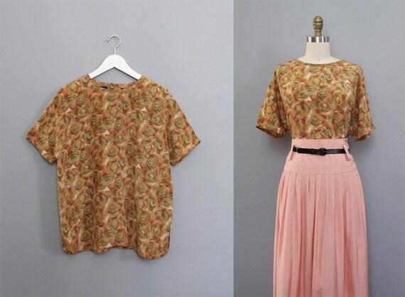 vintage watercolor SILK floral golden blouse L