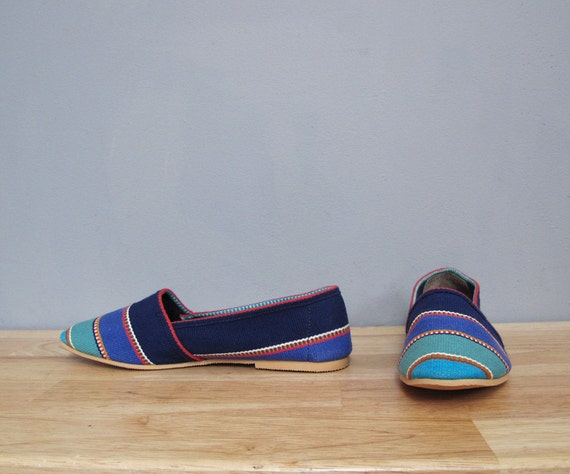 vintage WOVEN striped fabric flats BASS 7