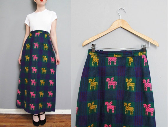 1970s UNICORNS colorful maxi skirt M