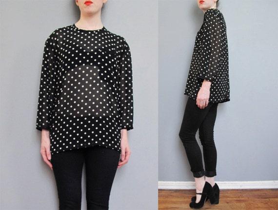 vintage black SHEER polka dot blouse S M