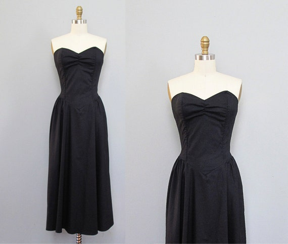 vintage 1980s black bustier SWEETHEART sun dress deadstock S M