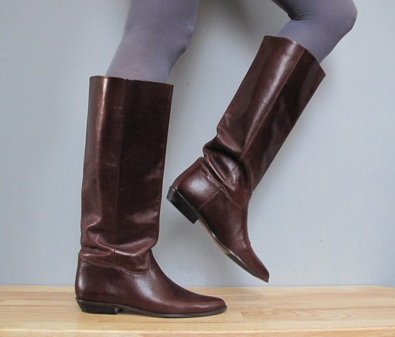 vintage leather DARK BROWN tall flat boots 7.5 - 8