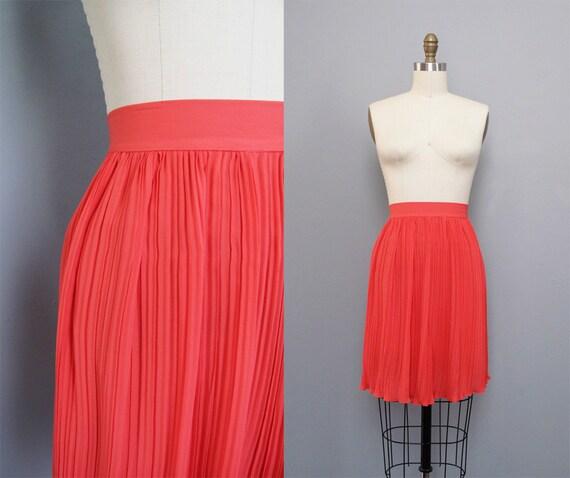 vintage CORAL neon silk pleated mini skirt XS S