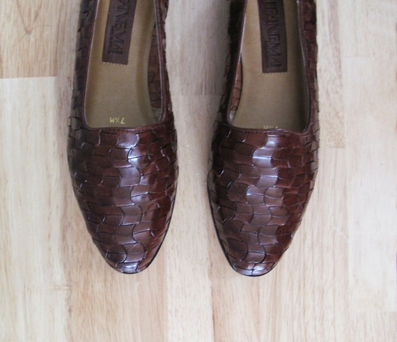 vintage dark brown WOVEN leather flats deadstock 7 1/2