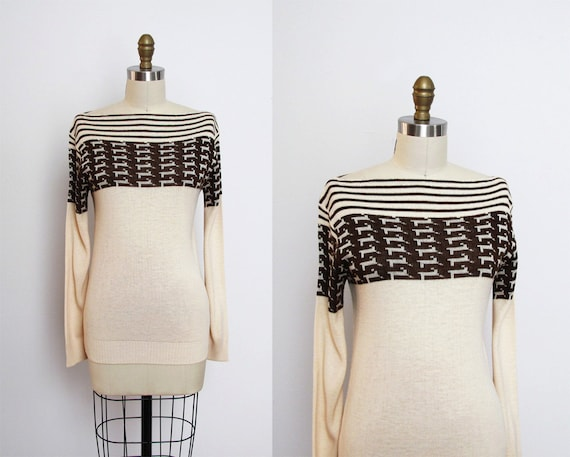 vintage 1970s ANIMAL print boatneck striped sweater XS S