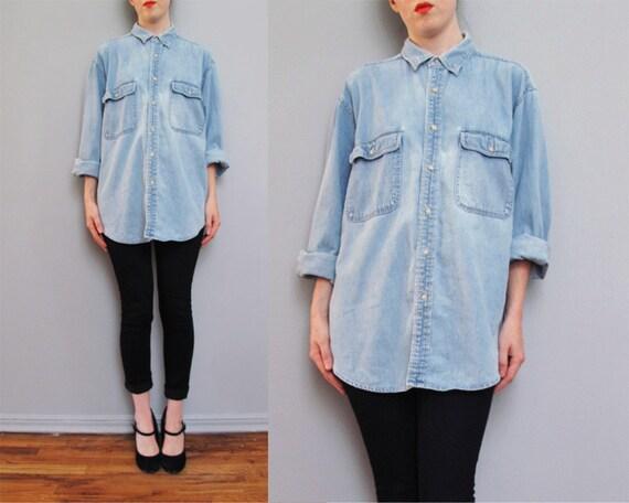 s a l e vintage LIGHT BLUE faded denim oversized shirt S M L