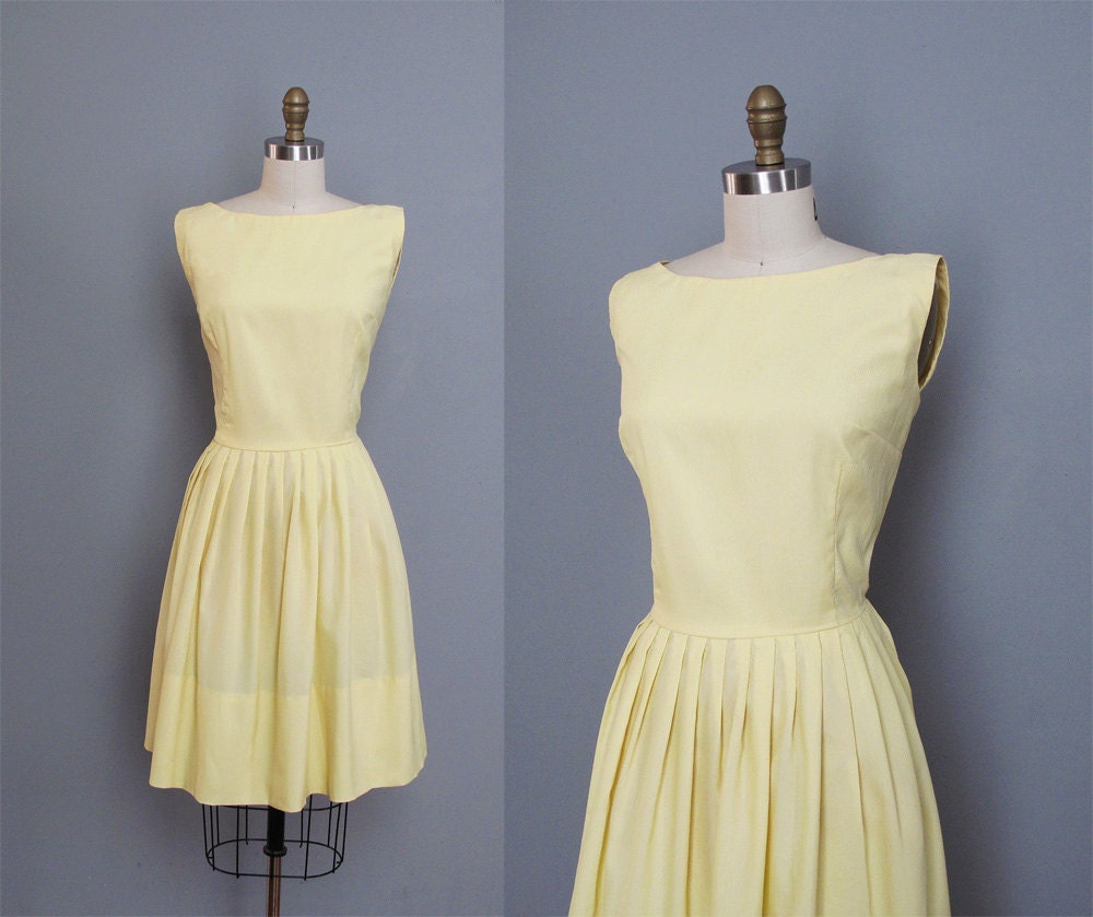 vintage PASTEL YELLOW sleeveless dress M