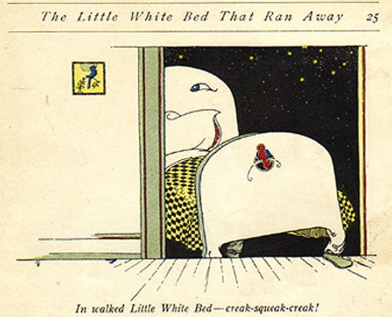 Little White Bed That Ran Away - 1924 Vintage Children's Book Illustration