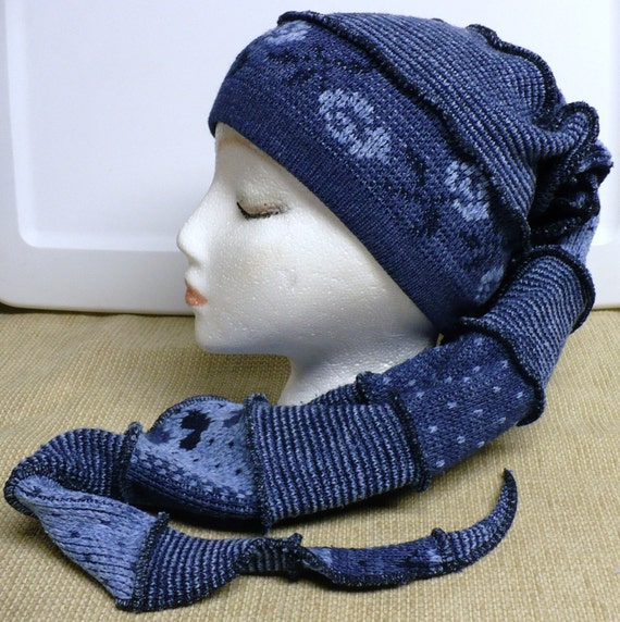 Shades of Blue Recycled Elven Elf Fairy Scarf Hat, Medium