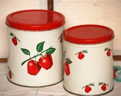 Vintage Apple Decoware Cannister Pair on SALE