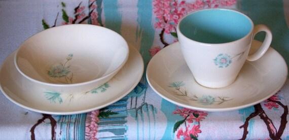 Robins Egg Blue Vintage Taylor Smith Taylor Boutenniere Teacup bowl saucer bread plate set