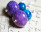 Purple Peacock Earrings - Sugilite Jasper and Chrysocolla