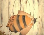 Primitive Bee Hanger Hand stitched collectible Prim Summer Decor-Cupboard Hanger OFG TEAM
