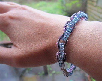 SALE now half price Pink and turquoise chain link beaded bracelet