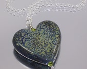 Green heart - handmade lampwork glass heart pendant necklace mounted on sterling silver SRA FHFTeam Y3